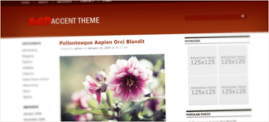 Red Accent WordPress Theme