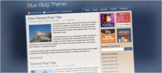 Blue Blog Theme Layout