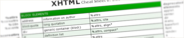 XHTML Cheat Sheet