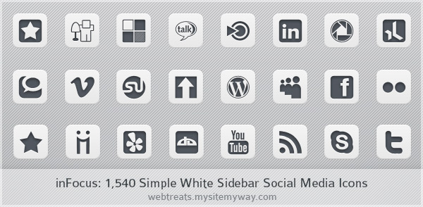 inFocus: Simple White Social Media Icons
