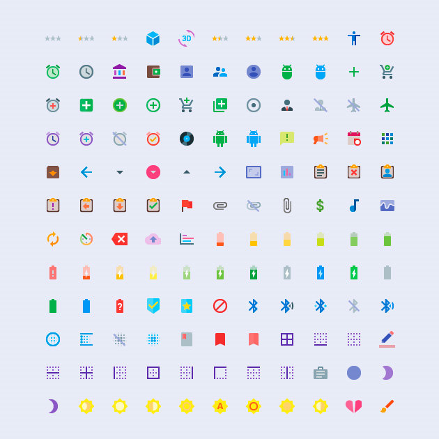 Set de iconos Material Design a color